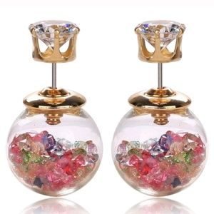 Glass ball double side earrings